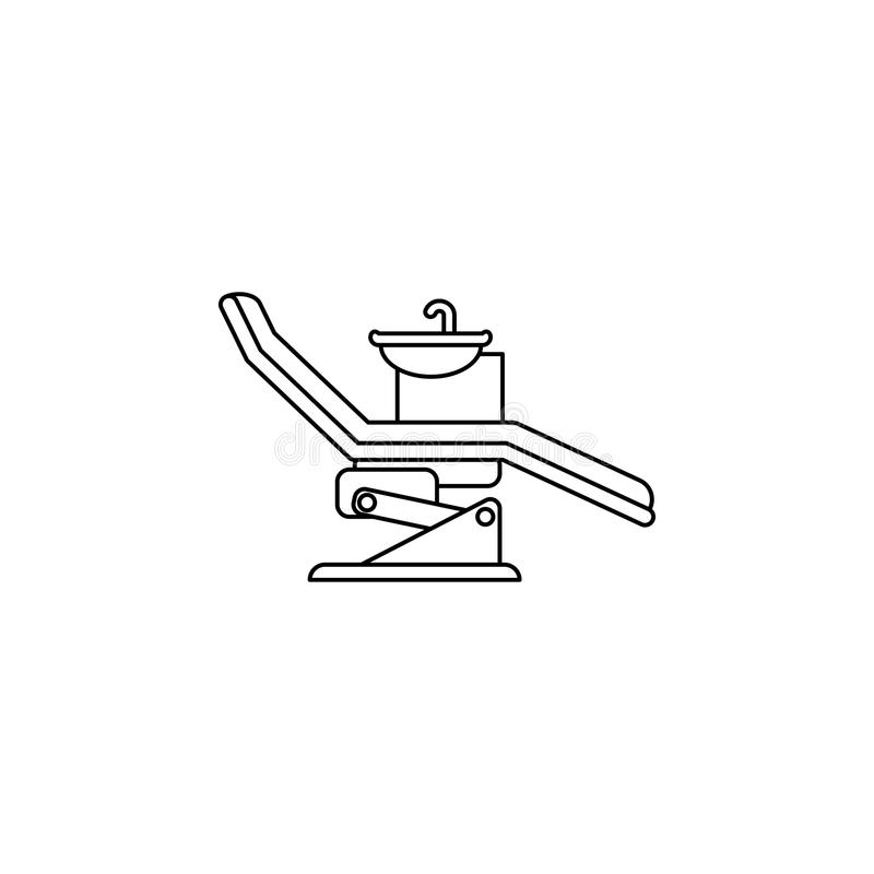 Tandartsstoel, het pictogram van de orthodontielijn Element van het Pictogram van Geneeskundehulpmiddelen Het grafische ontwerp v vector illustratie