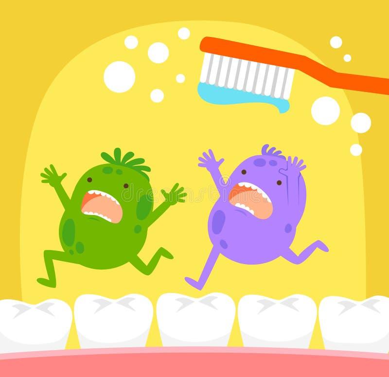 Tandbakterier och tandborste vektor illustrationer