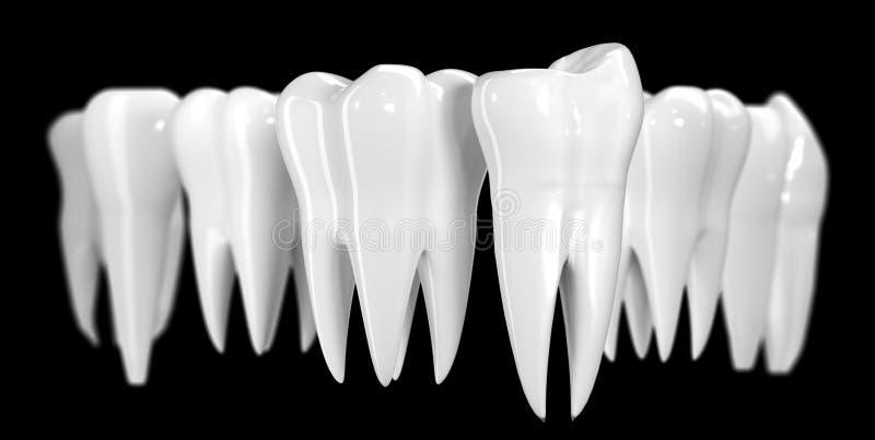 Tandbanner op zwarte achtergrond De gezonde 3d illustratie van het tandenpictogram van witte email en wortel Tandheelkundegezondh stock illustratie