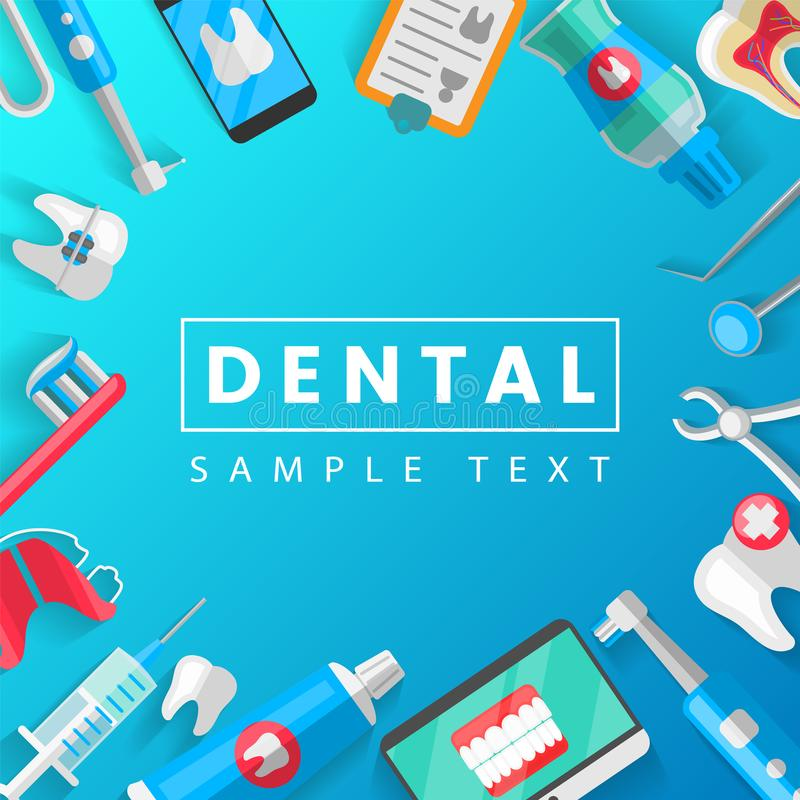 Tandbannerconcept Als achtergrond met Vlakke Pictogrammen Vectorillustratie, Tandheelkunde, Orthodontie Gezonde schoon royalty-vrije illustratie