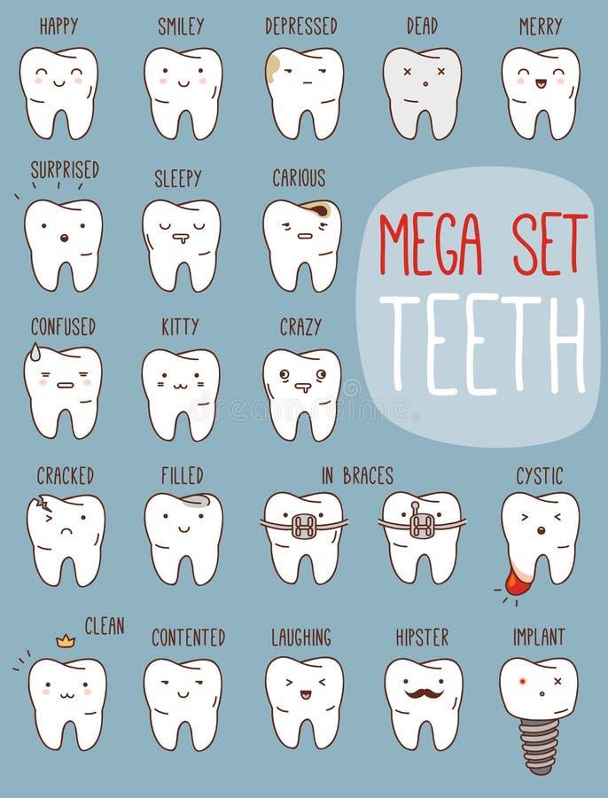 Tandbehandlinguppsättning Tand- samling för ditt royaltyfri illustrationer