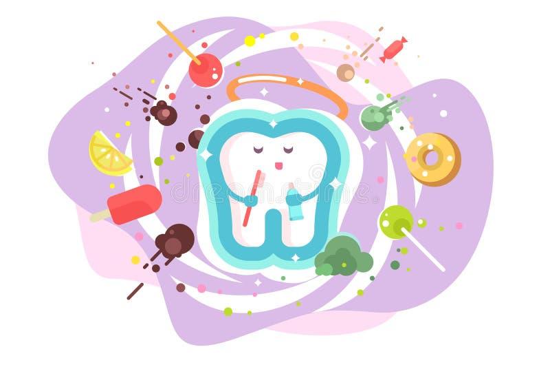 Tandbescherming en tandzorg stock illustratie