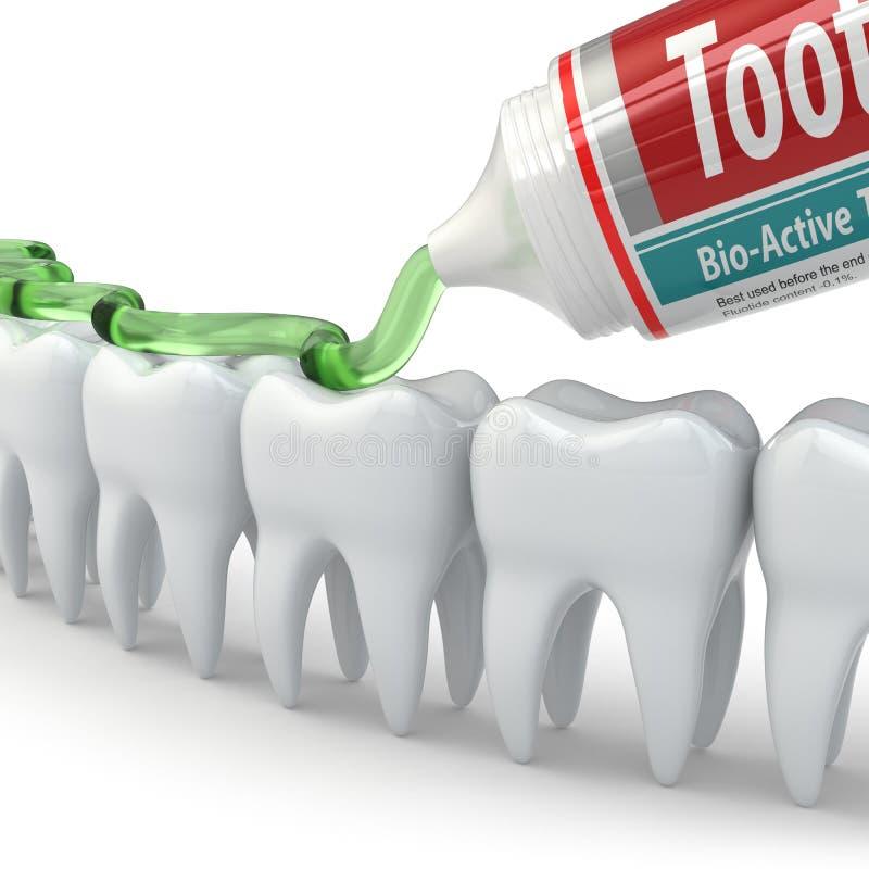 Tandbescherming, Tanden en tandpasta vector illustratie