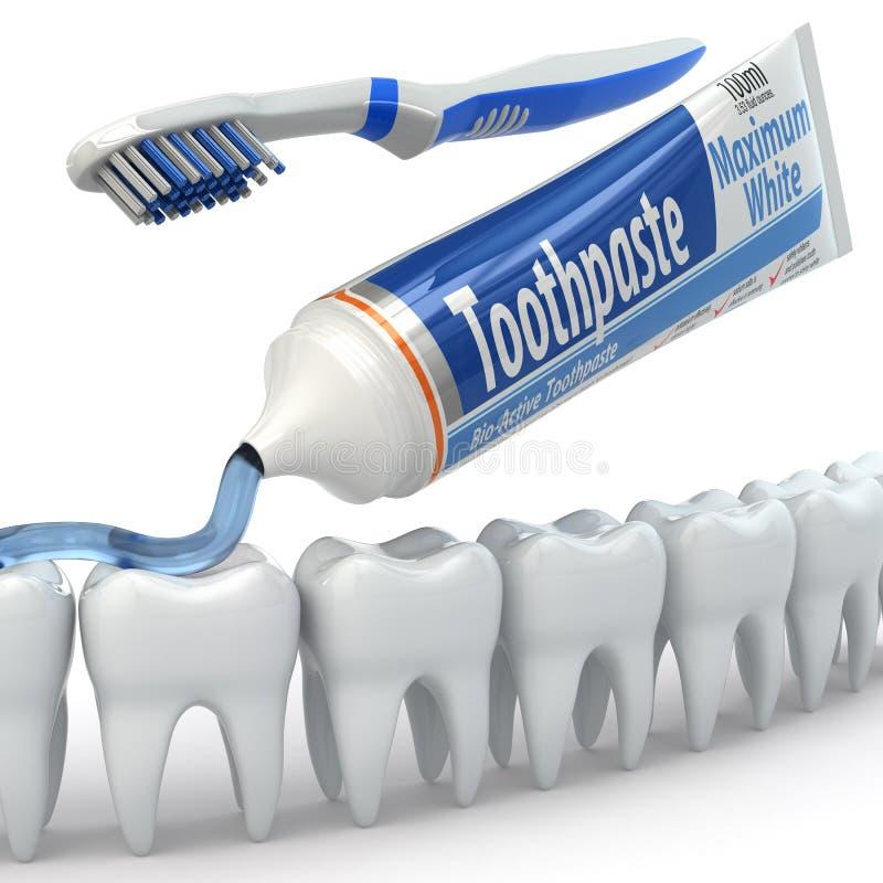 Tandbescherming, Tanden, tandpasta en tandenborstels. stock illustratie