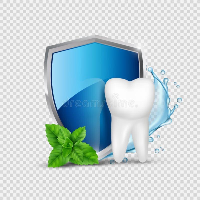 Tandbescherming Witte tand, schild en munt, waterspatten Geestelijke gezonde concept vectorillustratie royalty-vrije illustratie