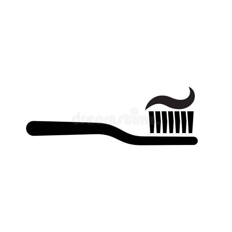 Tandborste med tandkrämkonturn stock illustrationer