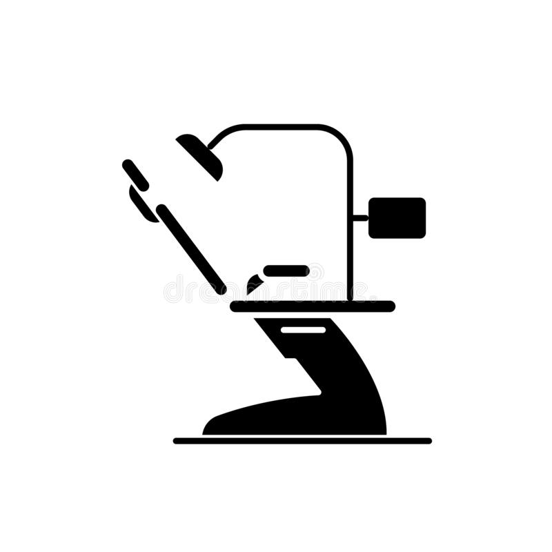 Tandbureau zwart pictogram, vectorteken op geïsoleerde achtergrond Het tandsymbool van het bureauconcept, illustratie vector illustratie