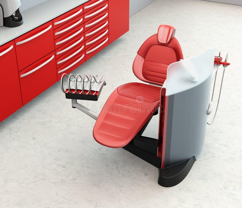 Tandbureaubinnenland met metaal rood eenheidsmateriaal en kabinet vector illustratie