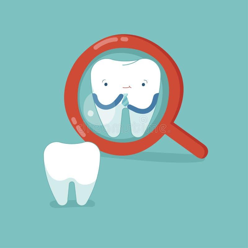 Tandcontrole omhoog zelf voor knap, tandconcept stock illustratie