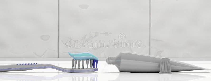 Tanddeg på en tandborste och ett tomt tandkrämrör på vit bakgrund, baner illustration 3d vektor illustrationer