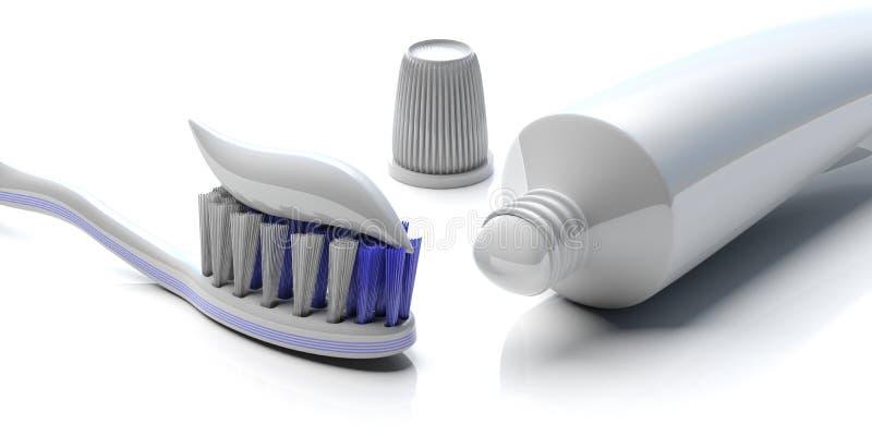 Tanddeg på en tandborste och ett tomt tandkrämrör på vit bakgrund, closeupsikt illustration 3d stock illustrationer