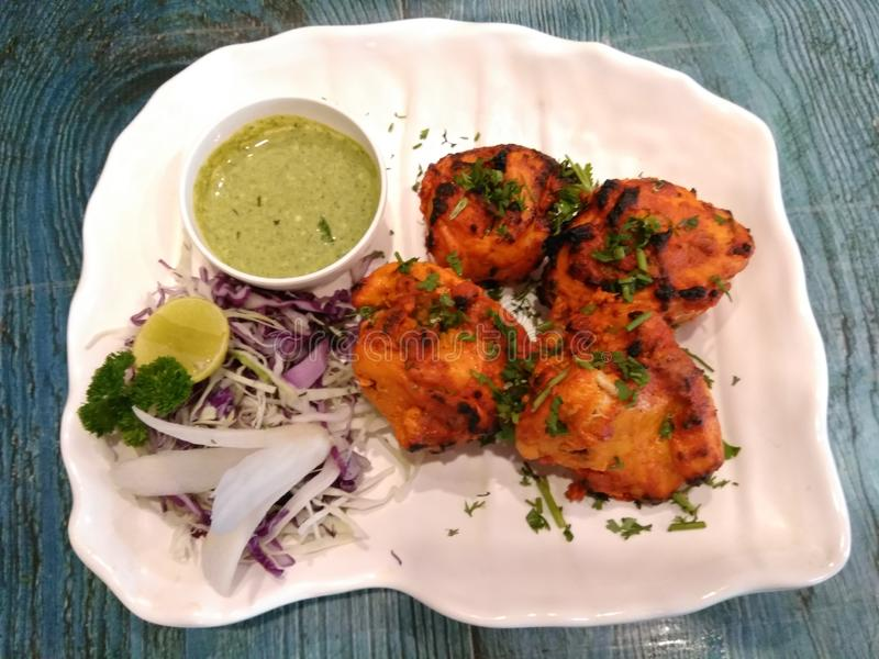Tandoori chicken kabab. Tanddori dices royalty free stock photography