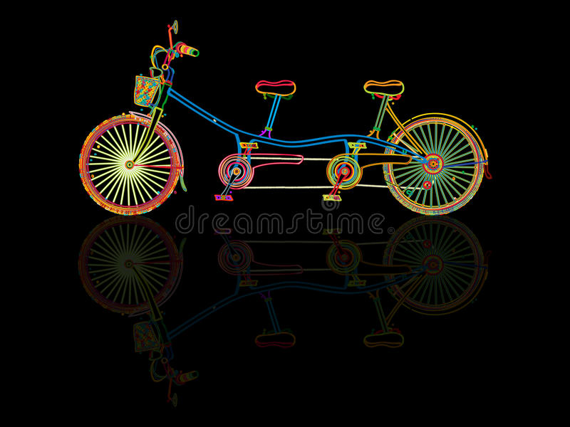 Tandem bicycle stock illustration