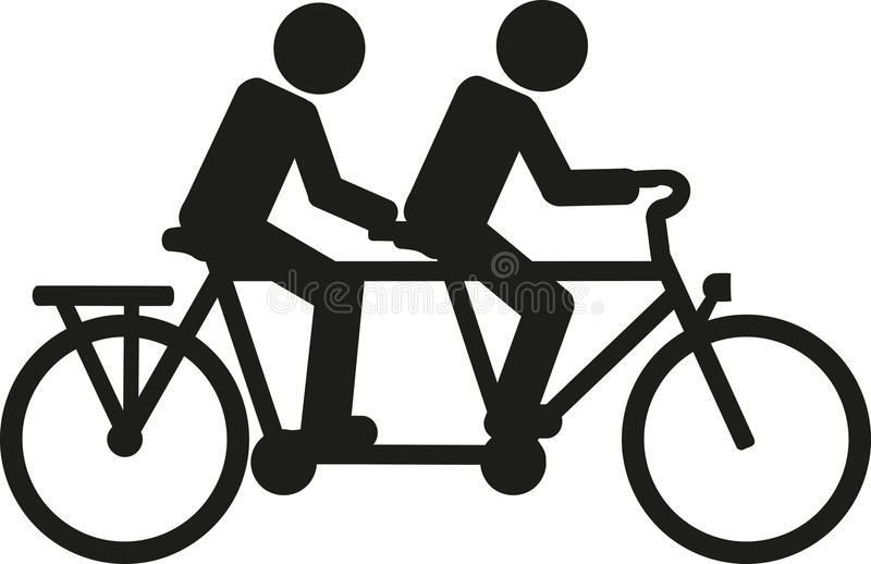 Tandem bicycle pictogram royalty free illustration