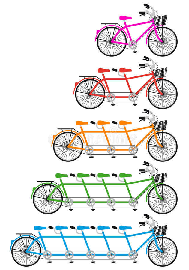 Download Tandem bicycle set, vector stock vector. Image of seat - 29169336