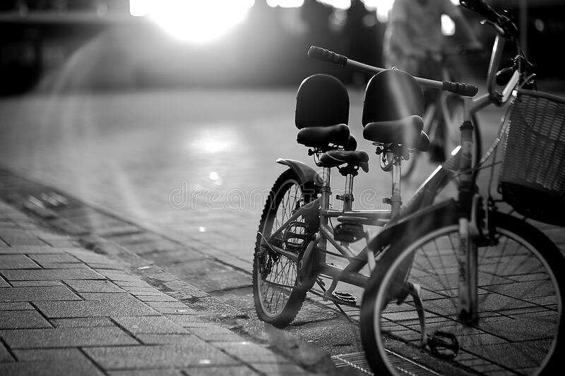 Tandem Bicycle On Sidewalk In Greyscale Photography Free Public Domain Cc0 Image