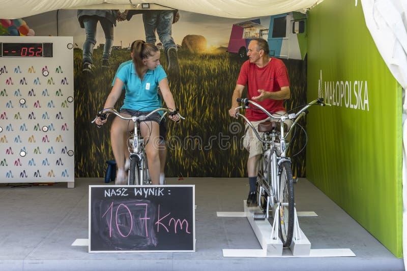 Tandem bike stationary stock photo