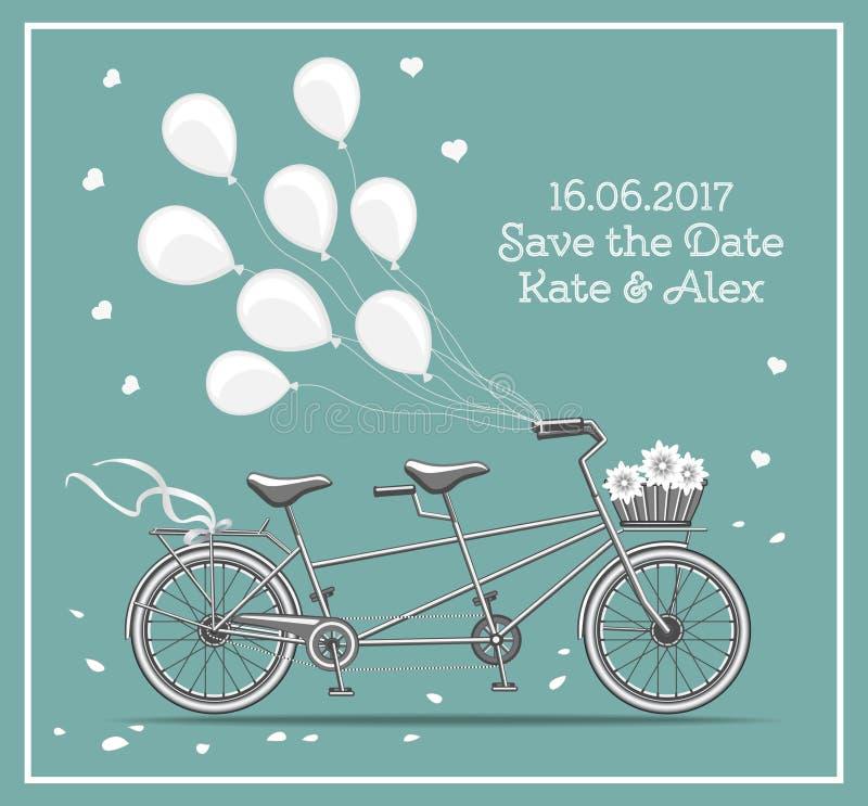 Tandem cykel stock illustrationer