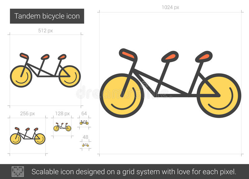 Tandem cykellinje symbol stock illustrationer