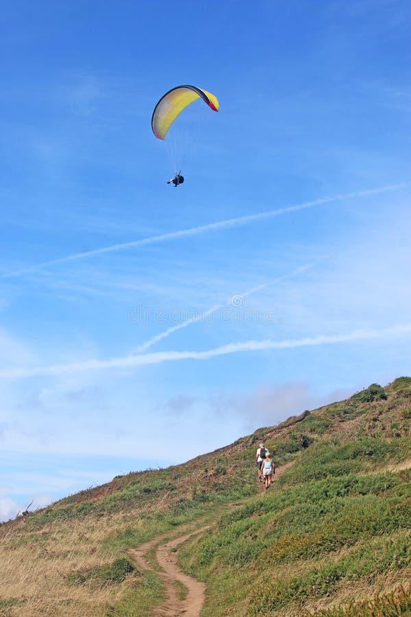 Tandem paraglider lflying at Newgale stock photos