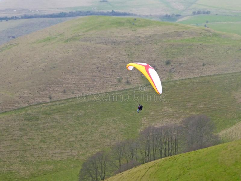 Tandem paraglider flying royalty free stock image