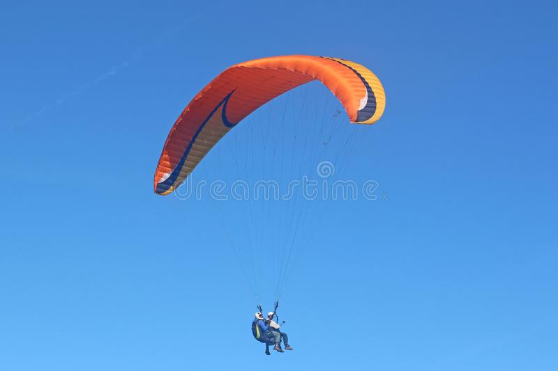 Tandem Paraglider flying wing stock image