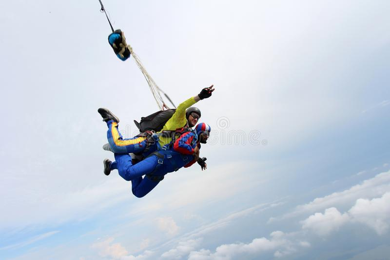 Skydiving. Tandem jump. Instructor and indian passenger. stock photos