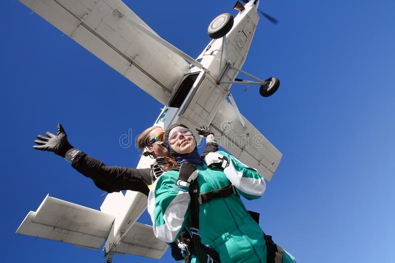 Download Tandem skydiving stock photo. Image of flying, motion - 110841596