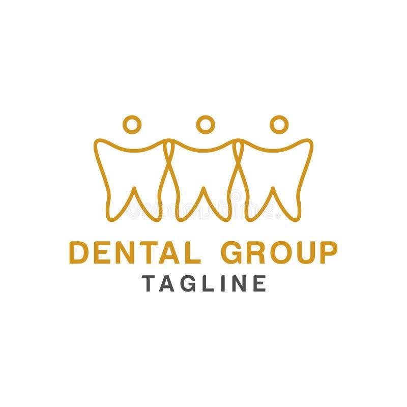Tandembleemontwerp, pictogram of symbool Eenvoudige minimalistische stijl voor medisch merk stock illustratie