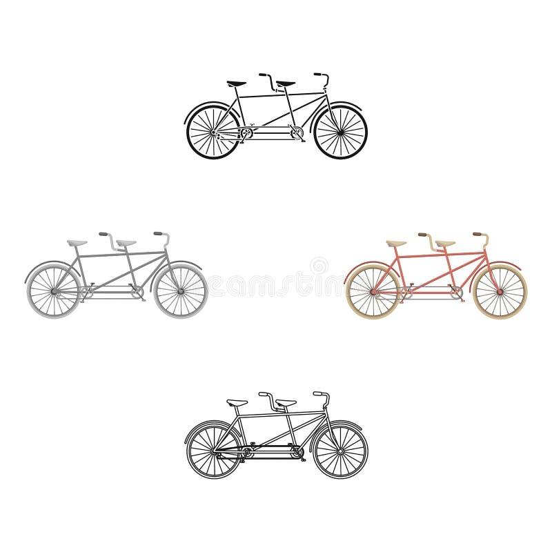 Tandemowy rower Przyjemność bicykl dla dwa Dwoisty bicykl Ekologiczny tryb transport Różnego bicyklu pojedyncza ikona wewnątrz ilustracja wektor