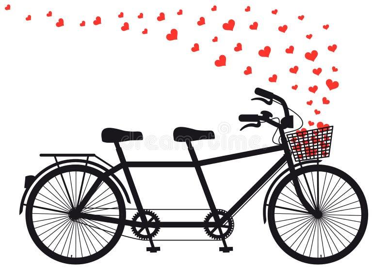 Tanden cykel med röda hjärtor, vektor royaltyfri illustrationer
