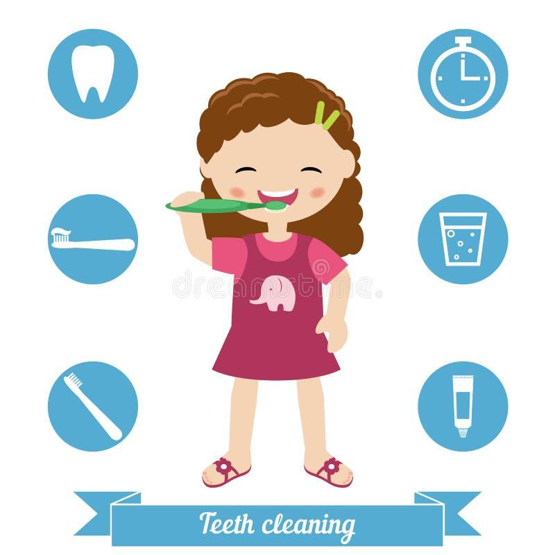 Tanden het schoonmaken vector illustratie