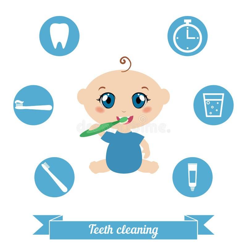 Tanden het schoonmaken Baby die zijn tanden borstelen vector illustratie