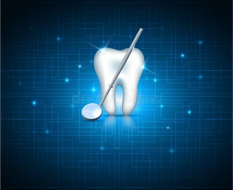 Tanden met spiegel op een technologieachtergrond royalty-vrije illustratie