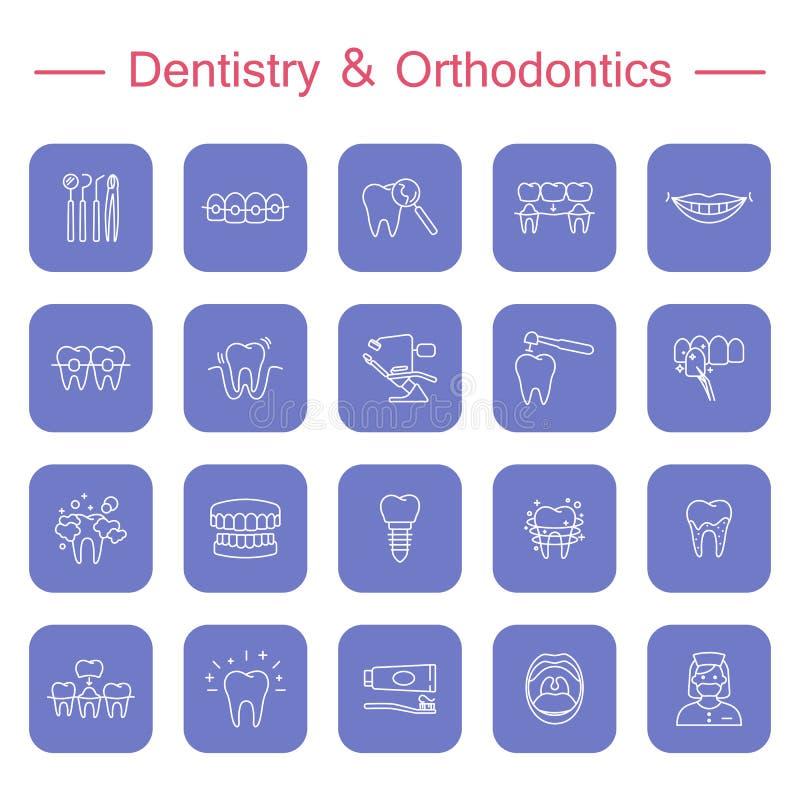 Tanden, pictogrammen van de tandheelkunde de medische lijn vector illustratie