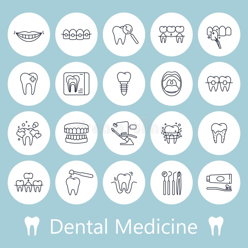 Tanden, pictogrammen van de tandheelkunde de medische lijn royalty-vrije illustratie