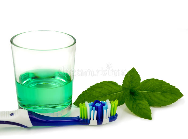 Tandenborstel en mondspoeling stock afbeelding