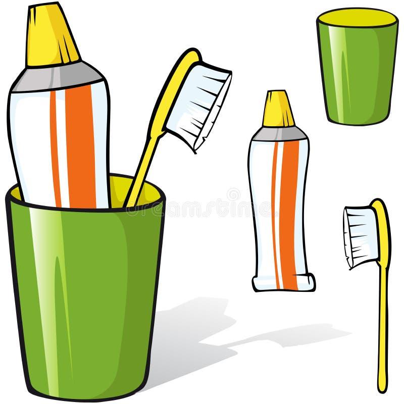 Tandenborstel en tandpasta in een kop vector illustratie