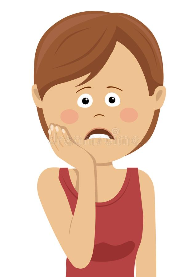Tandenprobleem Vrouw die Tandpijn voelen Droevig meisje die aan sterke tandpijn lijden Tandgezondheid en Zorgconcept royalty-vrije illustratie