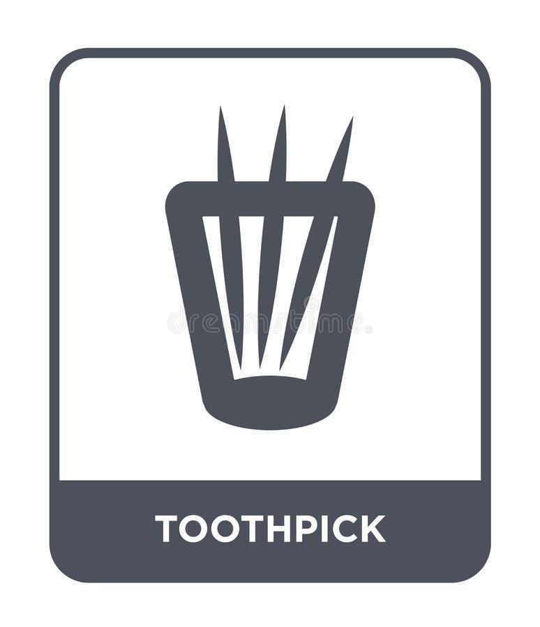 tandenstokerpictogram in in ontwerpstijl tandenstokerpictogram op witte achtergrond wordt geïsoleerd die eenvoudige en moderne vl stock illustratie