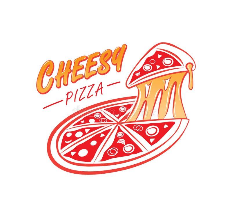 Tandetny pizza logo ilustracji