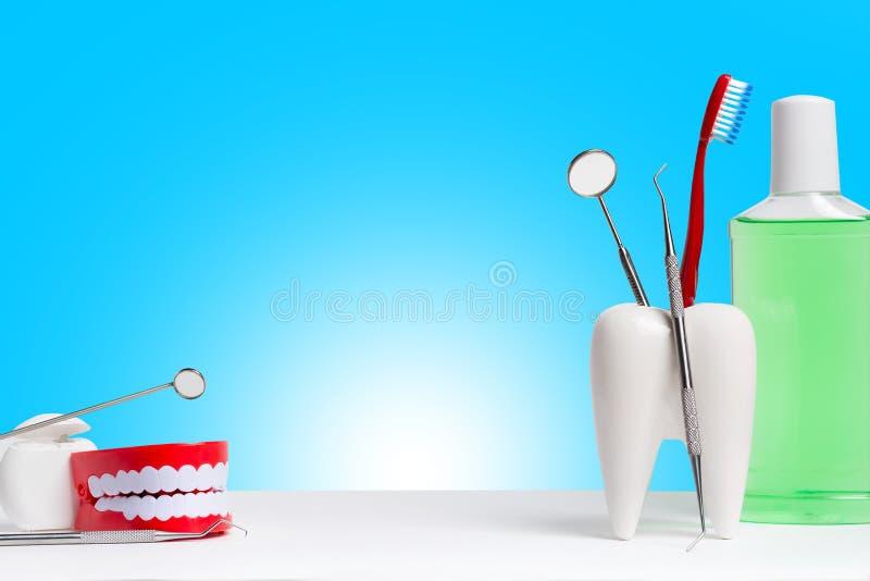 Tandgezondheid en teethcare concept Tandspiegel met ontdekkingsreizigersonde en tandenborstel in wit tandmodel dichtbij mondspoel royalty-vrije stock afbeeldingen