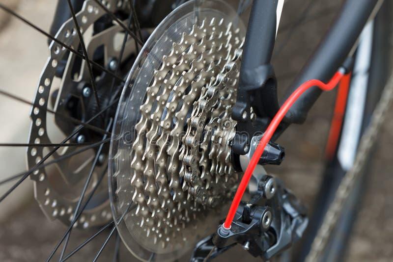 Tandhjul av en modern cykelväxellåda royaltyfria foton