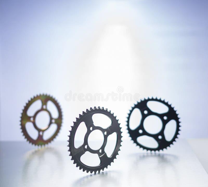 Tandhjul eller motorcykeltandhjul eller kugghjul royaltyfria bilder