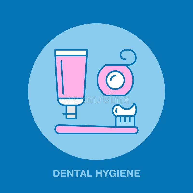Tandhygiëne, tandenborstel, tandpasta Tandarts, het pictogram van de orthodontielijn Tandzijdeteken, medische elementen Vertragin stock illustratie