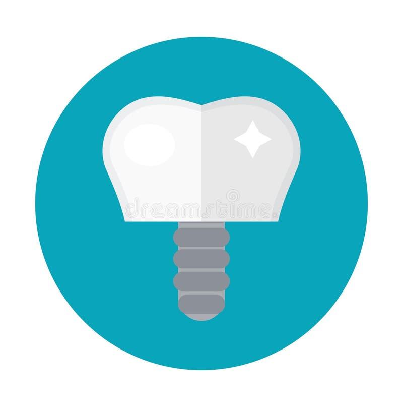 Tandimplant op de schroef Pictogram vlakke stijl Tandheelkunde, tandartsconcept Geïsoleerdj op witte achtergrond Vector vector illustratie