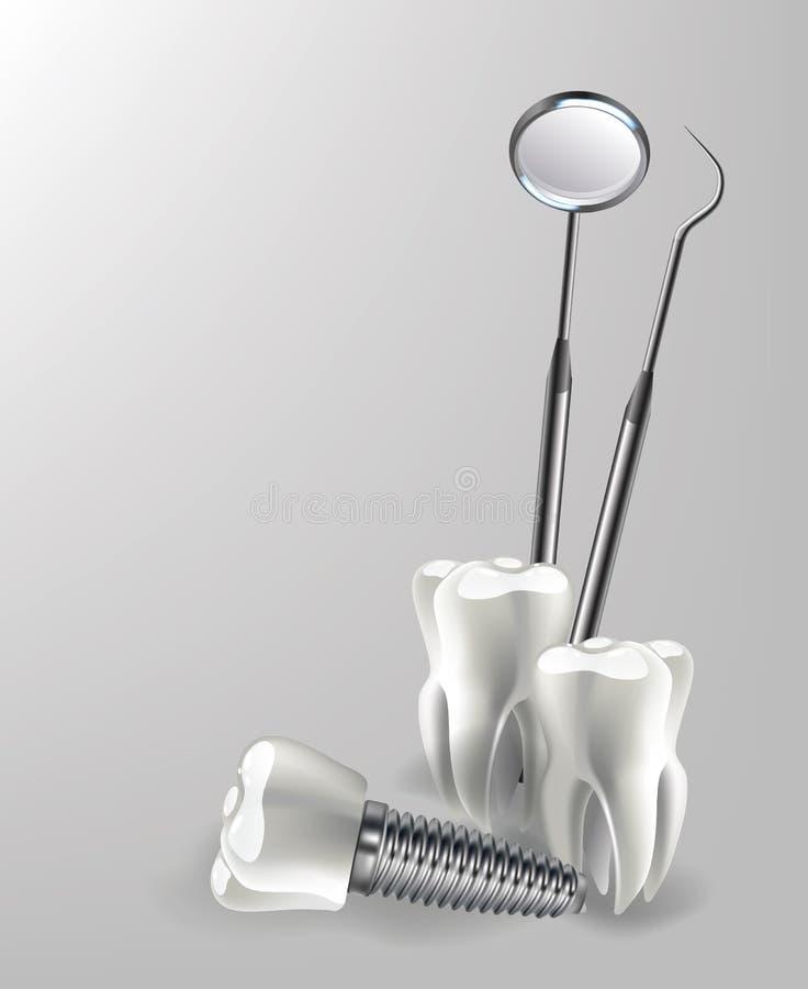 Tandinstrumenten, medische apparatuur, de silhouetten van tandartshulpmiddelen vector illustratie