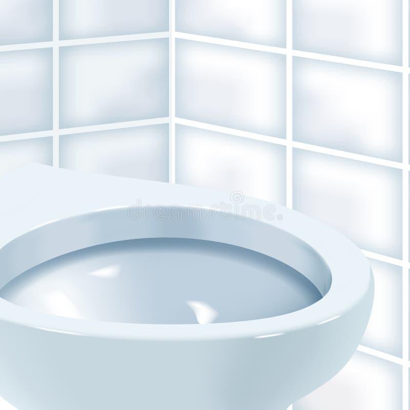 Tandis que pièce de toilette avec la cuvette des toilettes en céramique blanche Illustration réaliste de vecteur de cuvette des t illustration stock