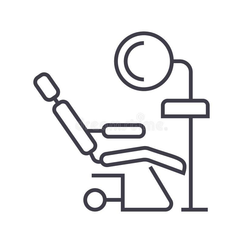 Tandkliniek, vector de lijnpictogram van de tandartss stoel, teken, illustratie op achtergrond, editable slagen royalty-vrije illustratie