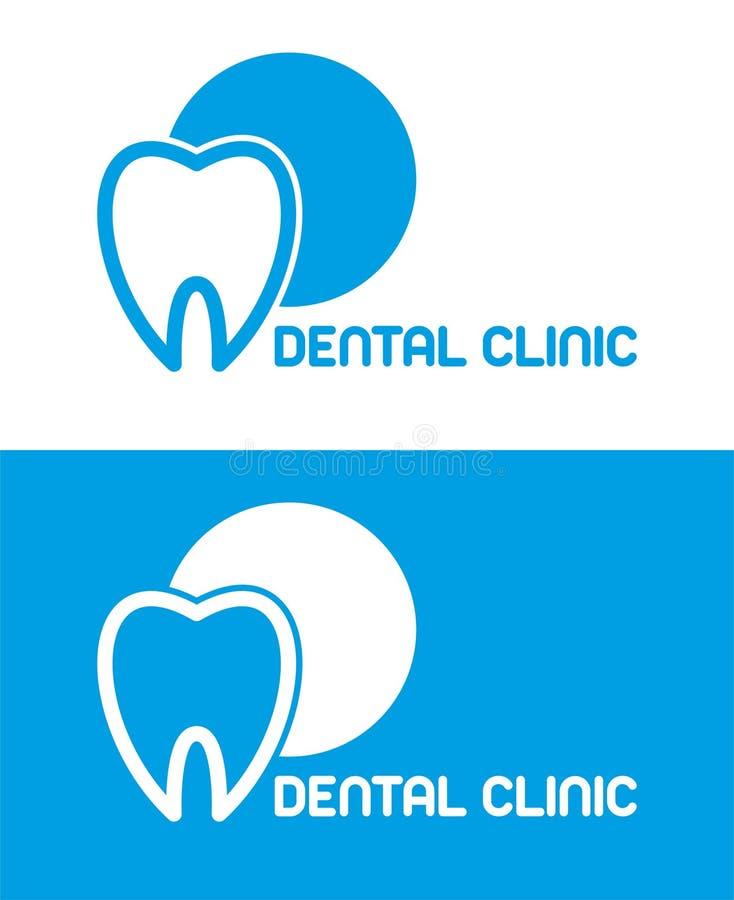 Tandkliniekembleem deukvector Blauw Embleem tandenlijn Tandartssymbool royalty-vrije illustratie